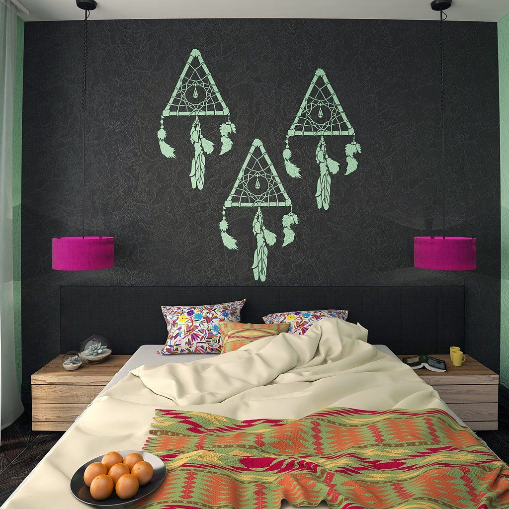 Bohemian Feather Wall Stencil Reusable Stencils For Home: Decorative Dream Catcher Wall Stencil