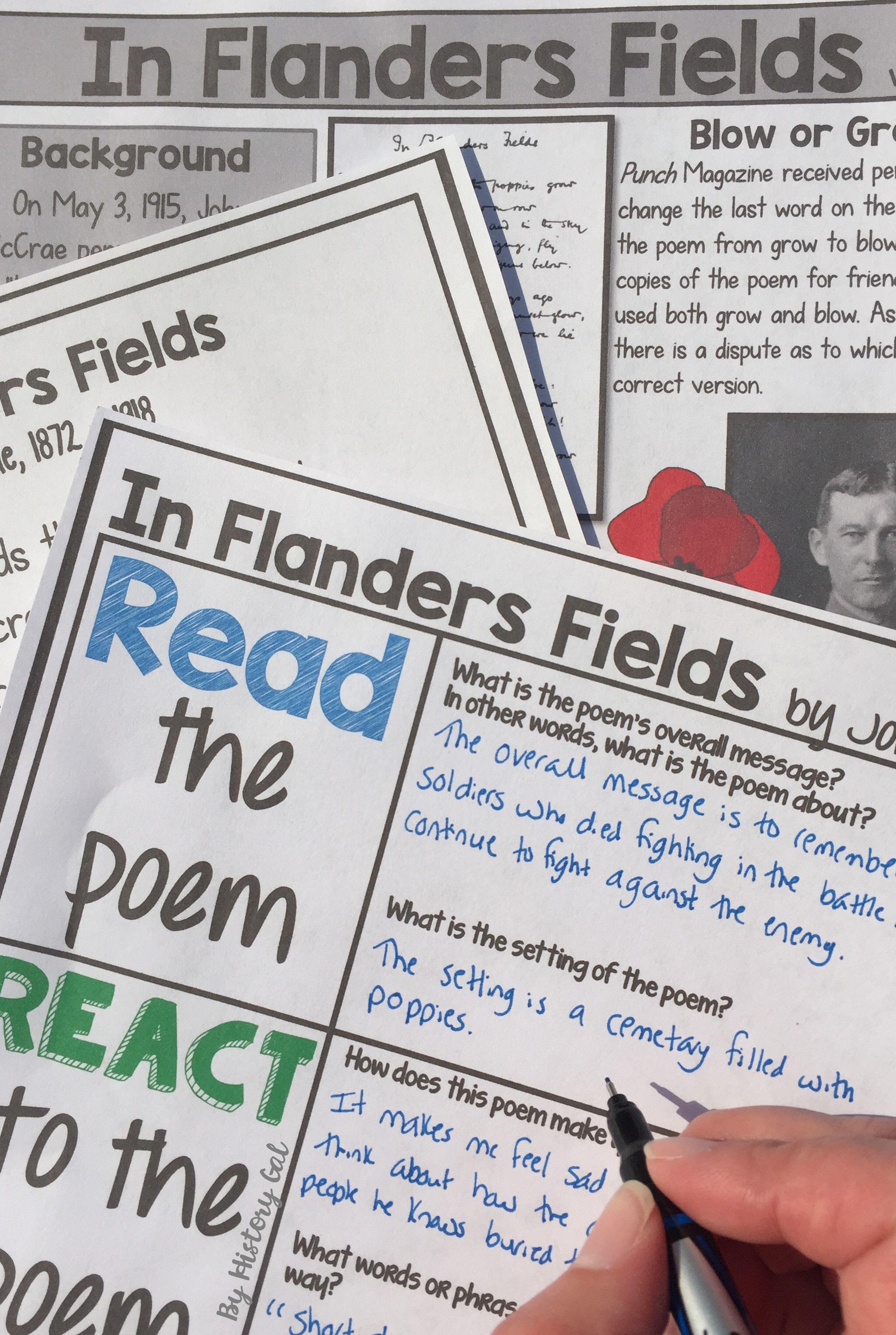 In Flanders Fields A World War I Poetryysis