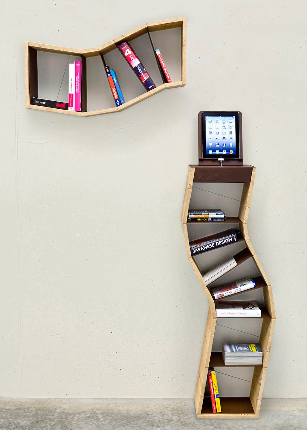 Epic Contemporary Wooden Bookshelves Design In Natural Wood Finish With  Lovely Curves Shape Design