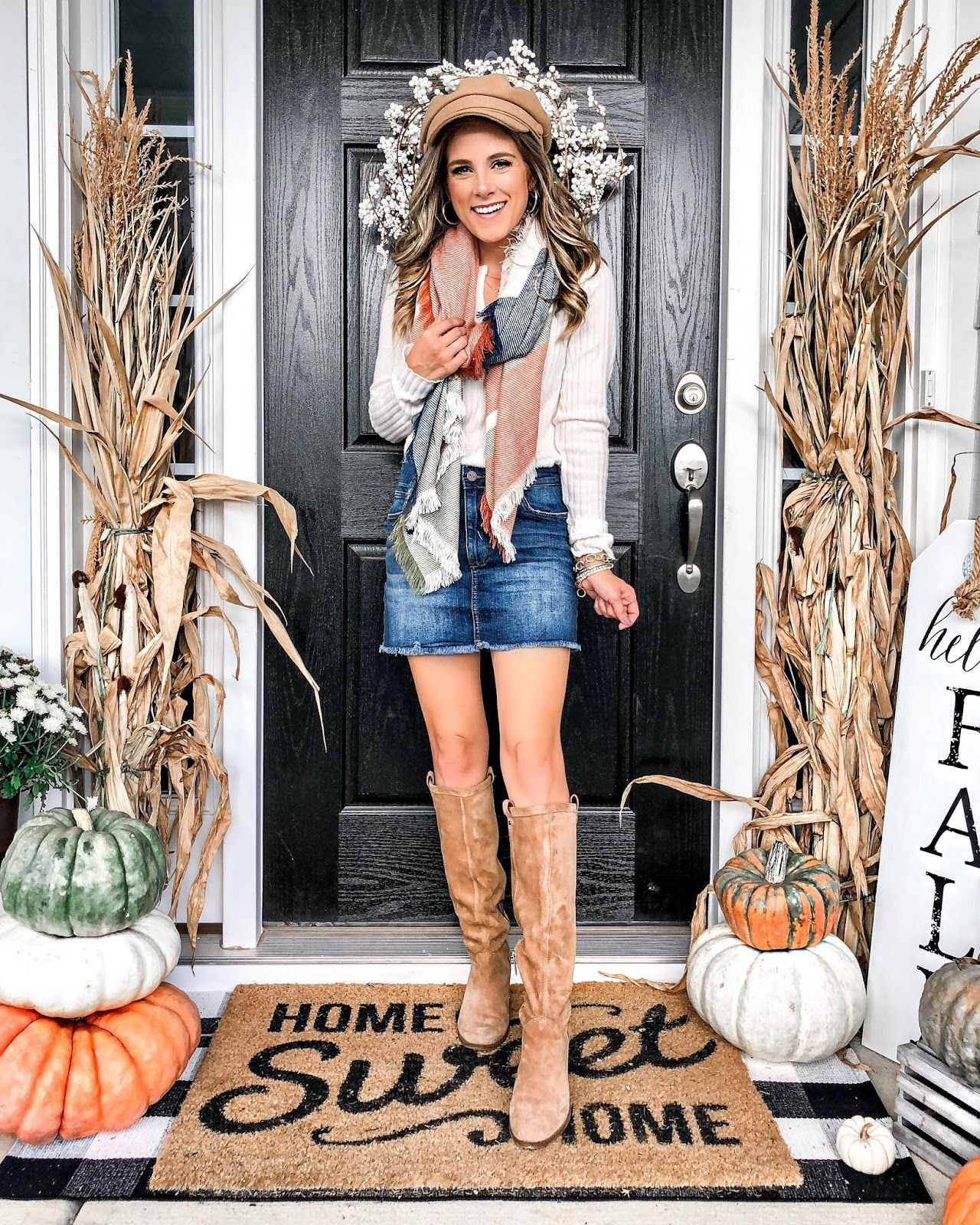 Perfect Fall Outfit + My Fall Front Porch... #fallfrontporchdecor Perfect Fall Outfit + My Fall Front Porch... | The Dainty Darling #fallfrontporchdecor