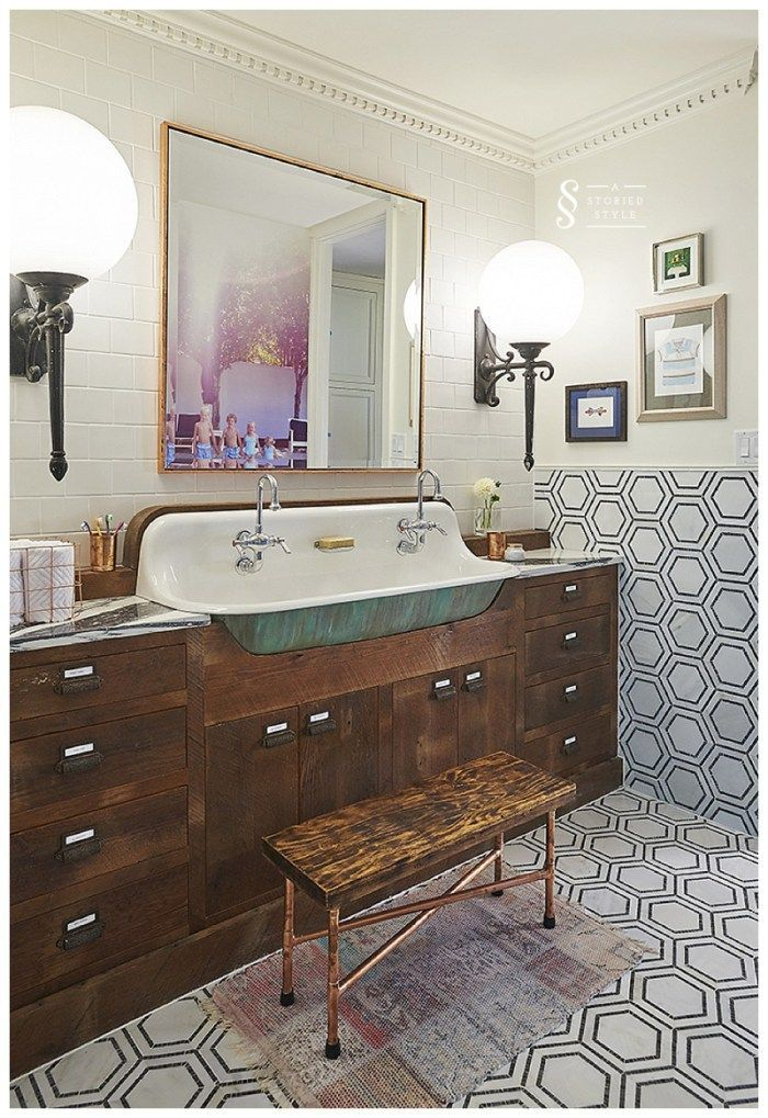 A Custom Reclaimed Wood Vanity By A Storied Style Gives A Rustic Chic Look  In This