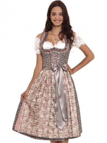 Dirndl Samira Grau Altrosa Gold Country Line Dirndl Traditionelle Kleidung Trachten Fashion