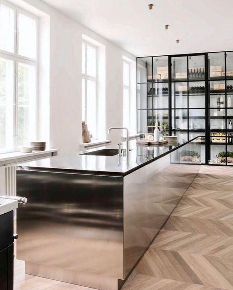 Interiorglobe On Instagram Polished Stainless Steel Kitchen By Boffi In An Apartment Designed By Kitchen Island Design Modern Kitchen Interior Design Kitchen