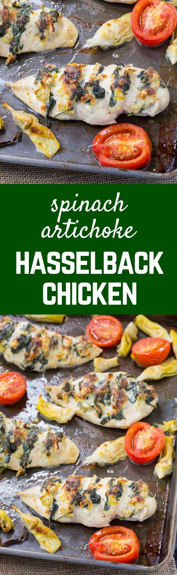Hasselback Chicken with Spinach and Artichoke - Sheet pan (VIDEO)