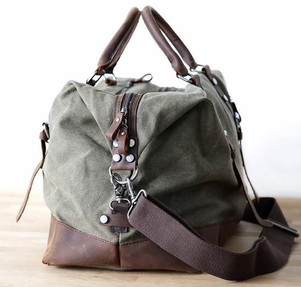 Men S Leather Canvas Duffle Bag Vintage For Luggage Travel Weekender Army Green