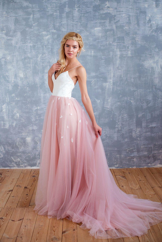 Blush wedding dress, blush bridal dress. beach wedding dress,floral ...