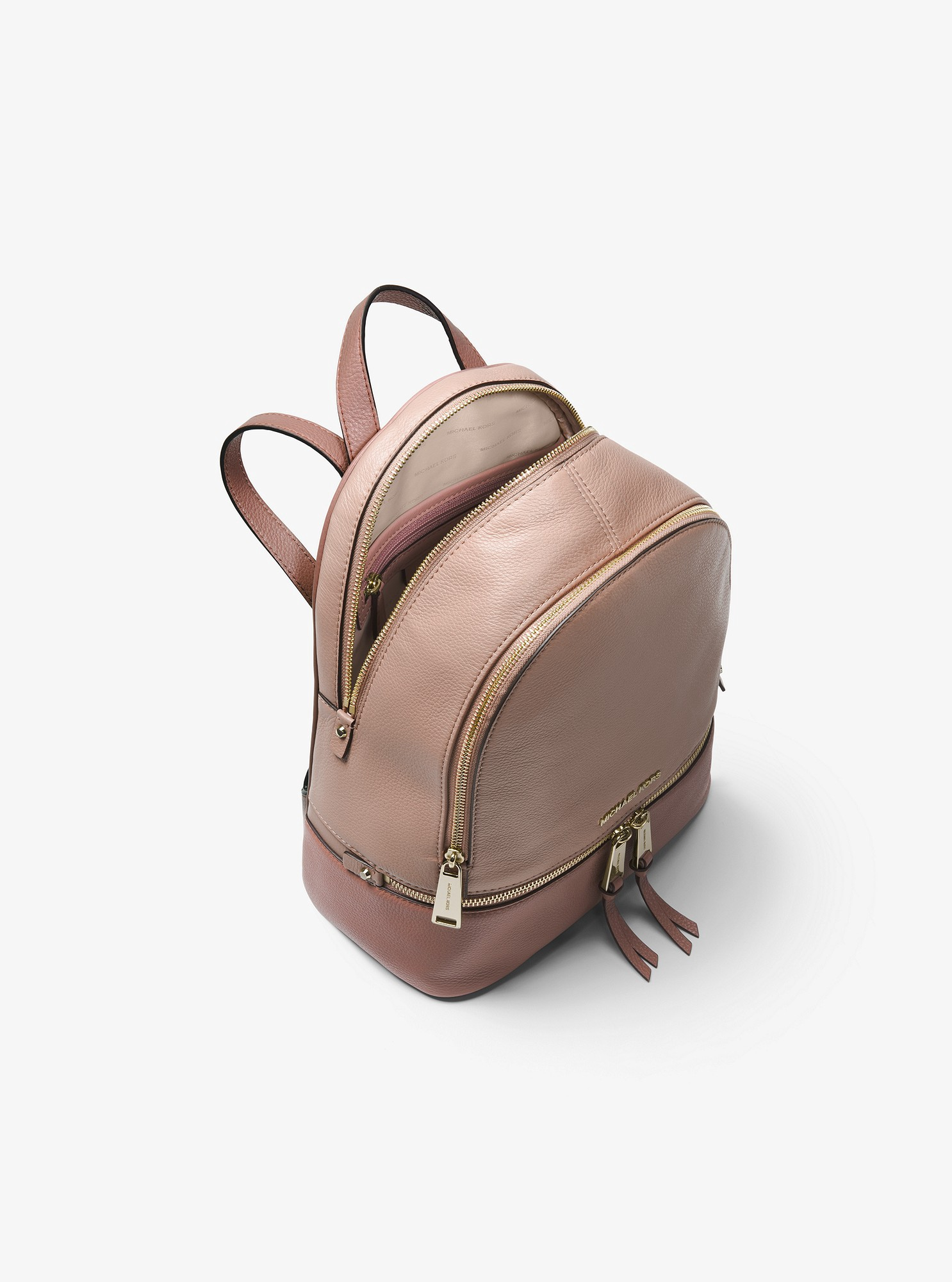 1a7917e942d2 Michael Kors Rhea Medium Color-Block Pebbled Leather Backpack - Fawn Dstyrse