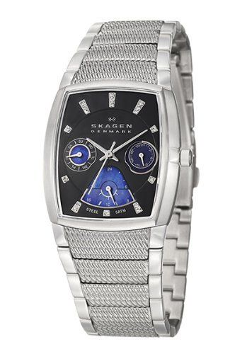 Skagen Women's 747SMXM Steel Collection Black Watch Skagen. $78.99. Silver metal plating and Grey Stainless Steel Link band with Deployment clasp. 31mm diameter steel case and 10mm case thickness. water resistant at 300 feet. Grey dial with Hardened Mineral crystal.. Swarovski indicators and Japanese movement. Save 59% Off!