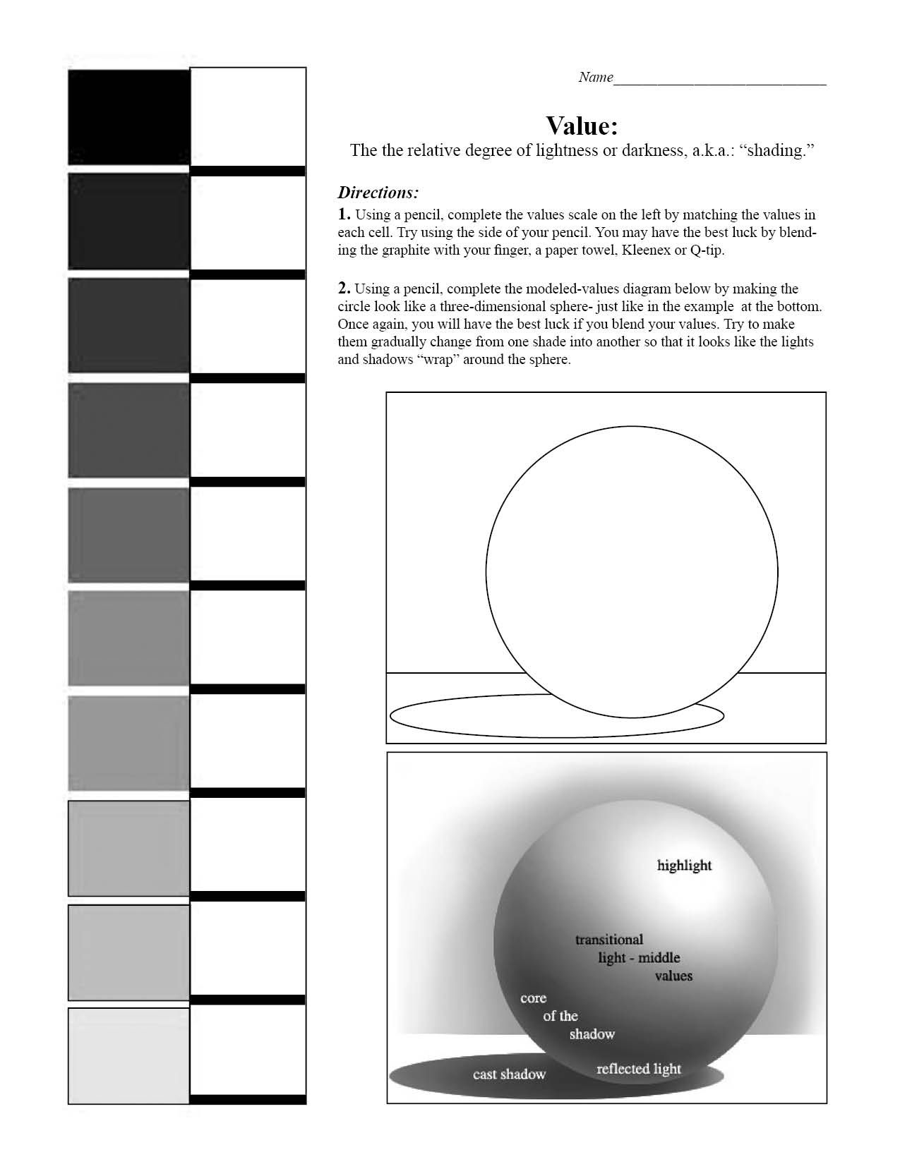 Value Scale And Sphere Worksheet 7th Grade Art Blending Value Shading
