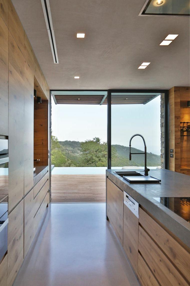 cuisine design moderne maison en pierre ilot central bois ...