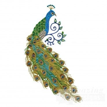 Swnpa123 Peacock Embroidery Design