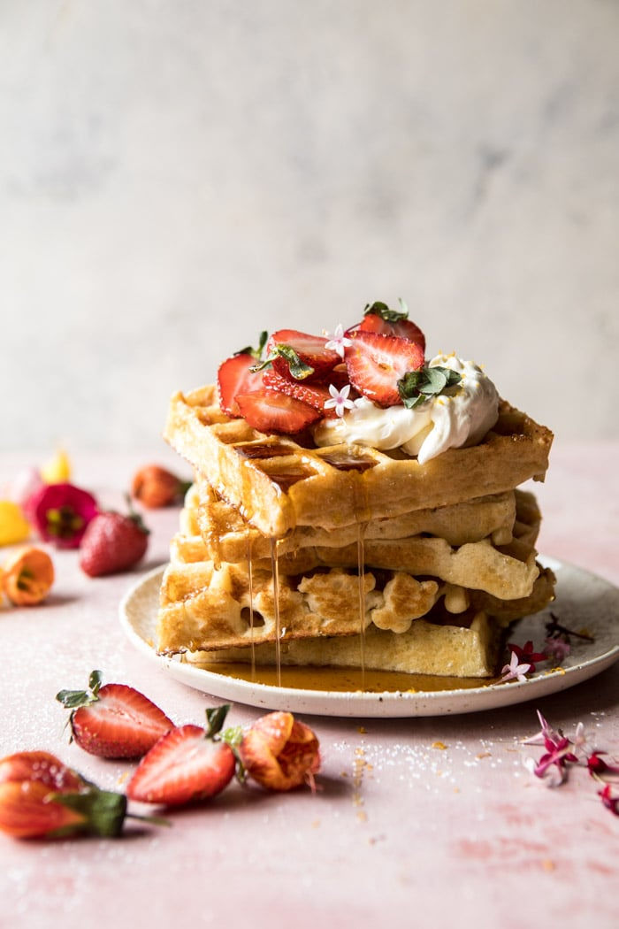Overnight Waffles with Whipped Meyer Lemon Cream and