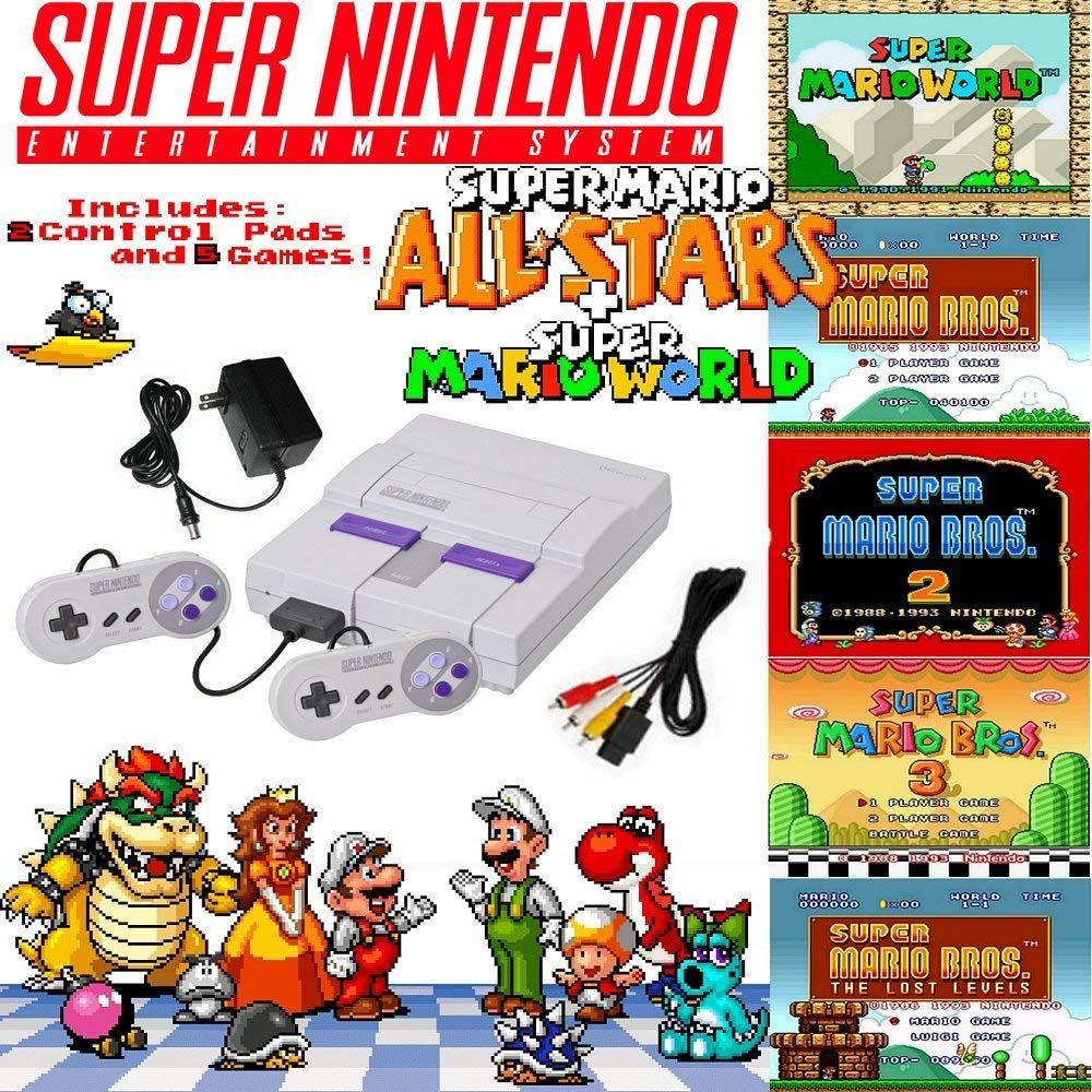 Super Nes Mario Set With 5 Game Cartridge Super Nintendo Nintendo Super Nes Super Mario All Stars
