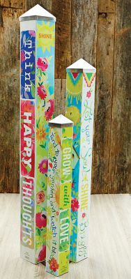 Full Description We Gave Artist Stephanie Ryan Three Blank Poles To Tell A Story This Art Pole Garden Was The Result Art Poles Feature Art Garden Poles Peace Pole Pole Art
