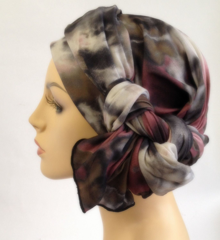Mauve, Olive and Gray Turban, Chemo Hat, Head Wrap Alopecia Scarf, Hijab, Boho, Gypsy
