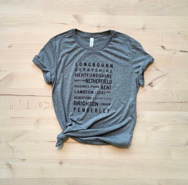 Pride and Prejudice Locations Typography T-shirt- Jane Austen - Pride and Prejudice #prideandprejudice