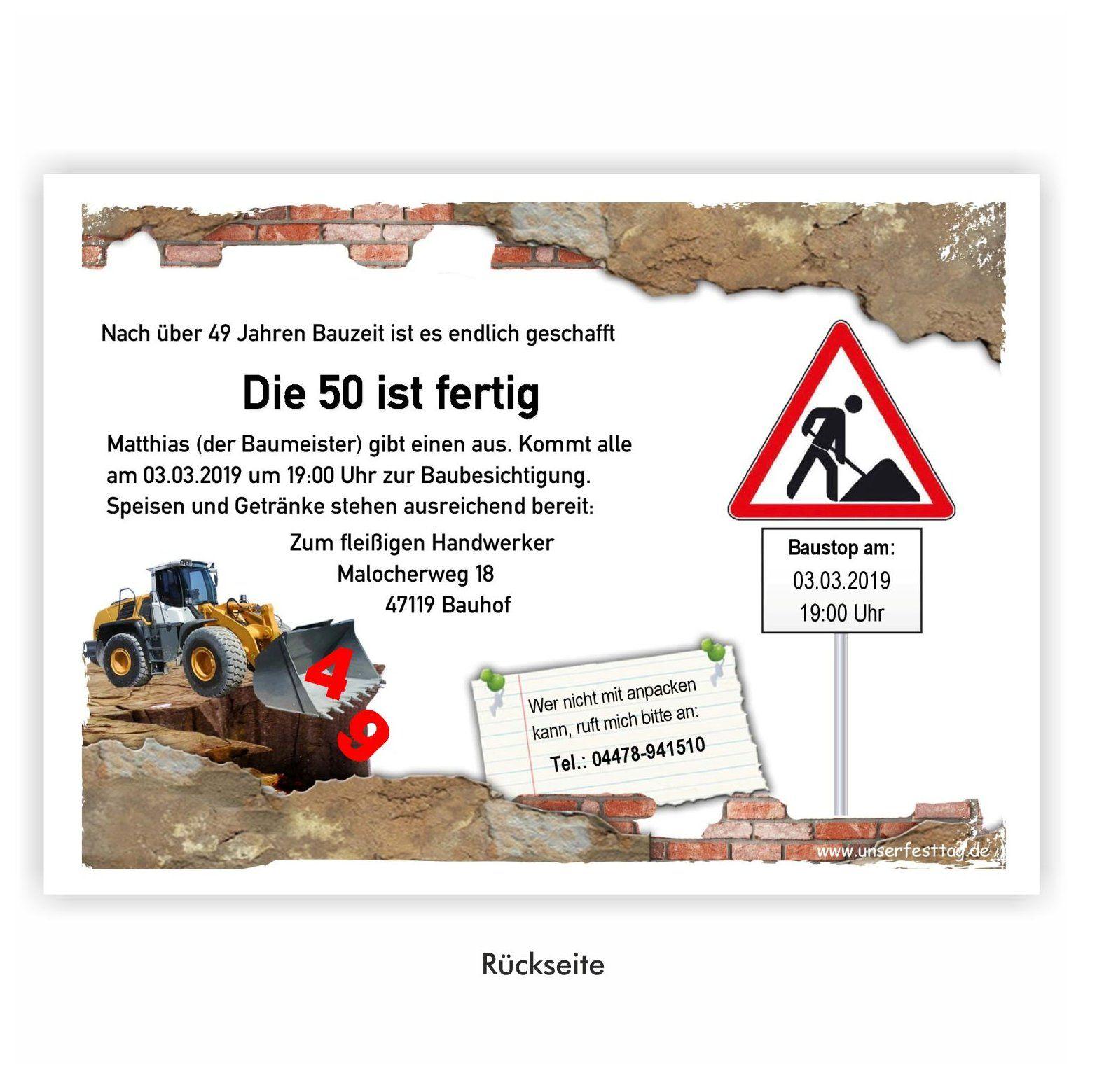 Einladungskarte Fur Maurer Mit Foto Baustelle Einladung