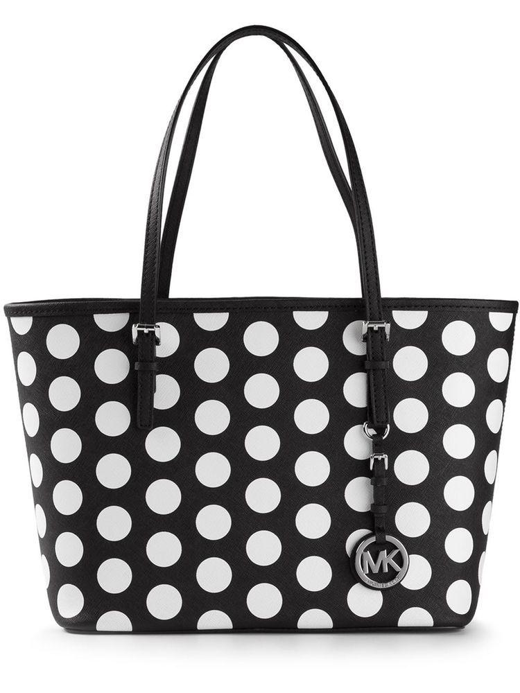 Michael Kors Jet Set Travel Polka Dot Small Tote Black White Leather Handbag New Michaelkors Totespers
