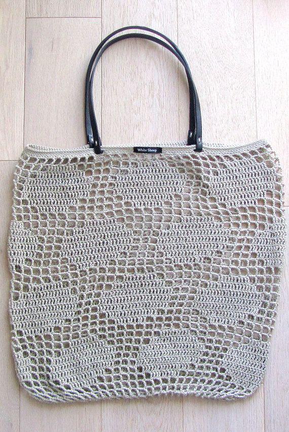 Handmade Blue Polka Dots CROCHET Bag-Tote with CORK SKIN Handles ...