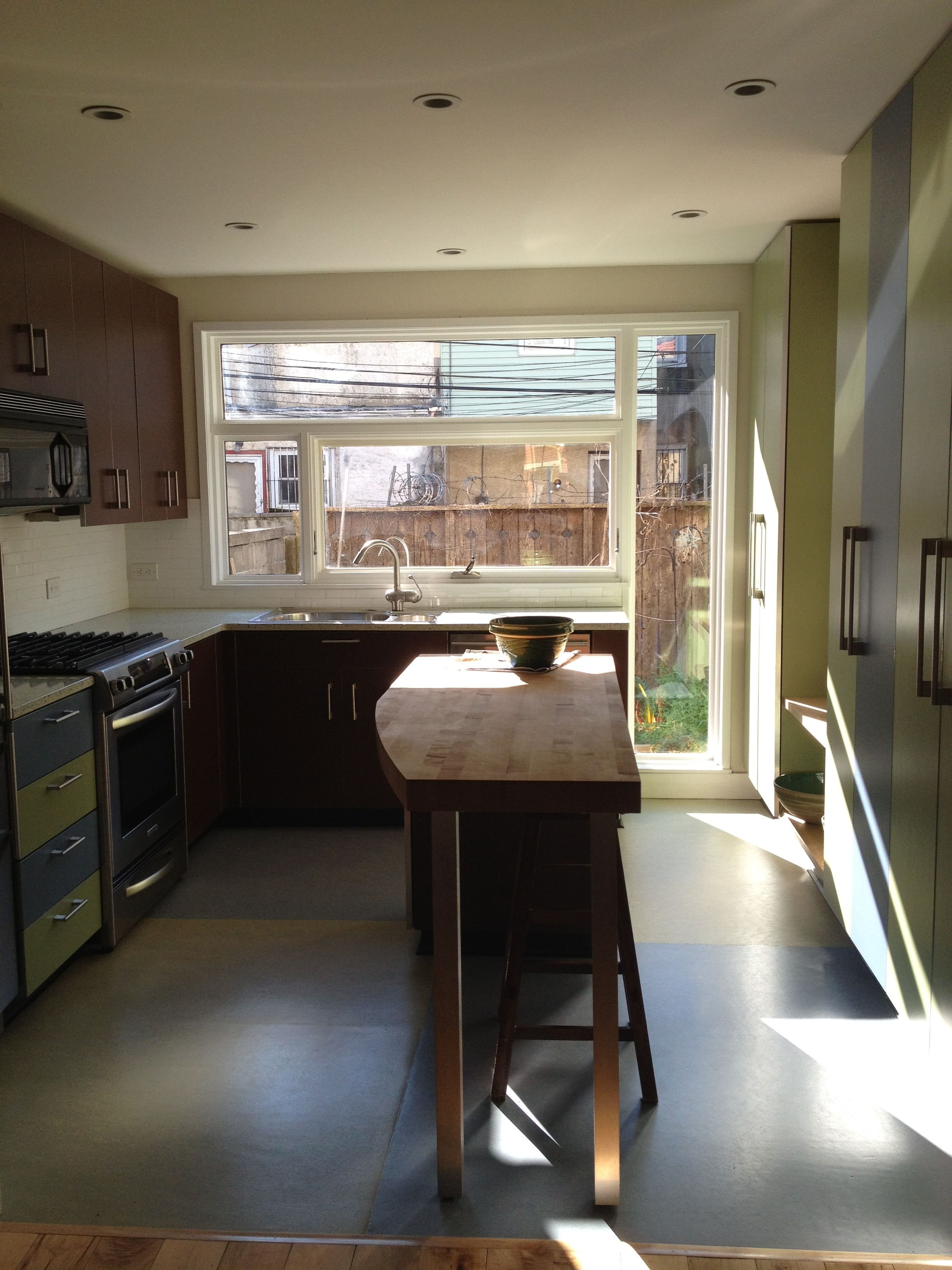 Our Rowhouse Has A 120 Square Foot Kitchen We Added Large Windows To Get Southern Light Into The House And Varied Cabin Square Kitchen Kitchen Remodel Kitchen