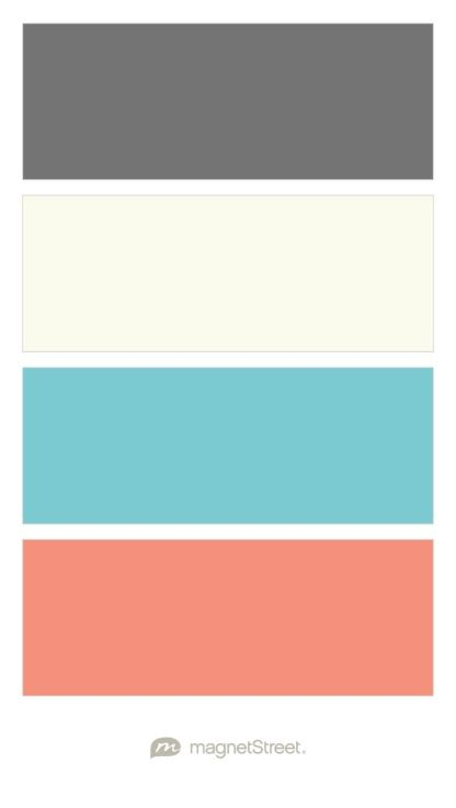 Charcoal Ivory Turquoise And Coral Wedding Color Palette Custom Color Palette Created At Magnetstreet Co Teal Color Schemes Teal Color Palette Room Colors