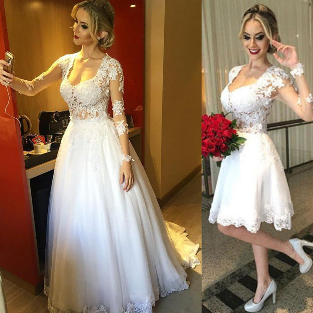 Sexy Ivory Beaded Lace Detachable Skirt 2 in 1 Ball Gown Wedding ...