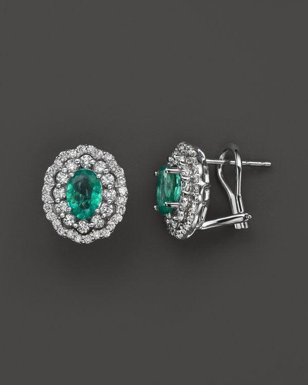 3f2884baabafb Emerald and Diamond Oval Stud Earrings in 14K White Gold   ear in ...