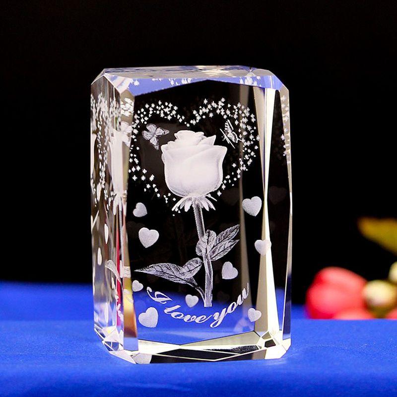 3d Rose Flower Led Lamps Engraved Crystal Engraved Gifts Rose Flower