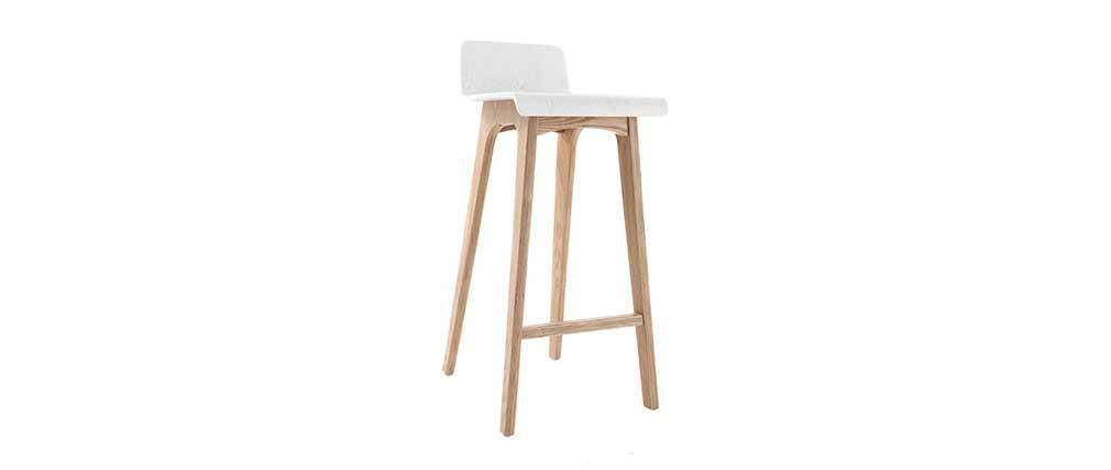 Tabouret chaise de bar design bois naturel et blanc scandinave baltik tableau chaise de for Chaise bar blanc bois
