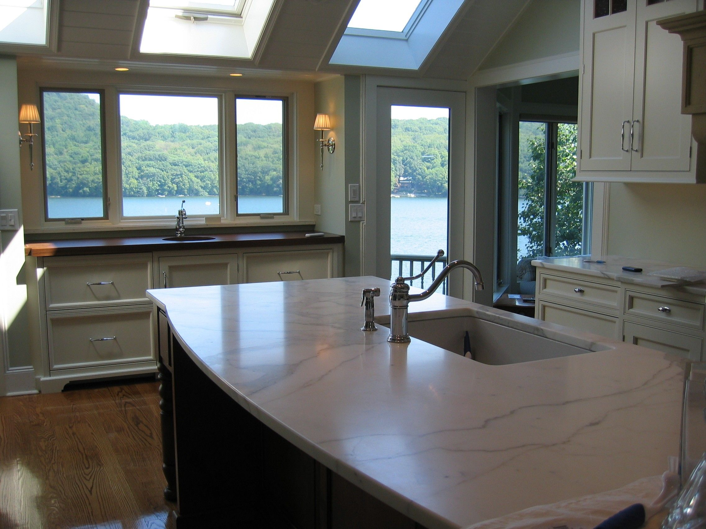 A Kitchen With A Lake View #lake #beautiful #transitional #wood  #countertops · Wood CountertopsCustom CabinetryMarble ...
