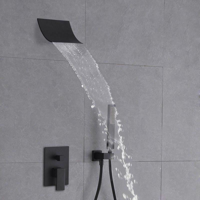 Modern Minimalist Style Wall Mount Waterfall Shower Head Hand Shower System Matte Black In 2020 Waterfall Shower Shower Heads Shower Systems