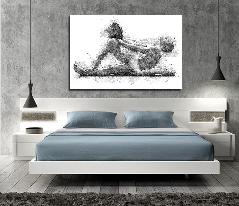 CANVAS ART His & Hers Bedroom Wall Art, Abstract Art Print, Pencil Sketch  Erotic Master Bedroom Wall Art, Nude Figure Drawing - P015