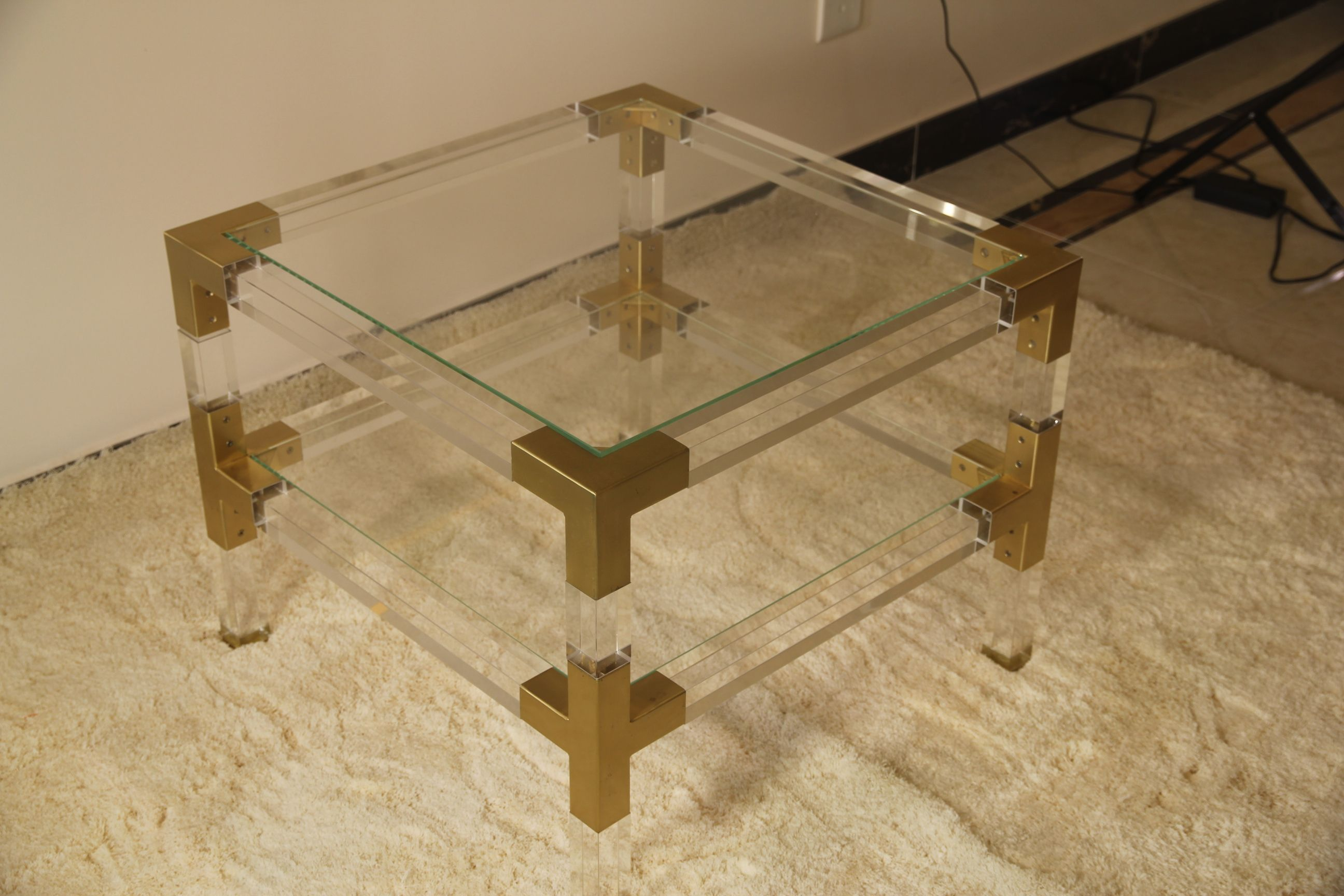 Wholesale Home Furniture Gold Metal And Clear Acrylic Coffee