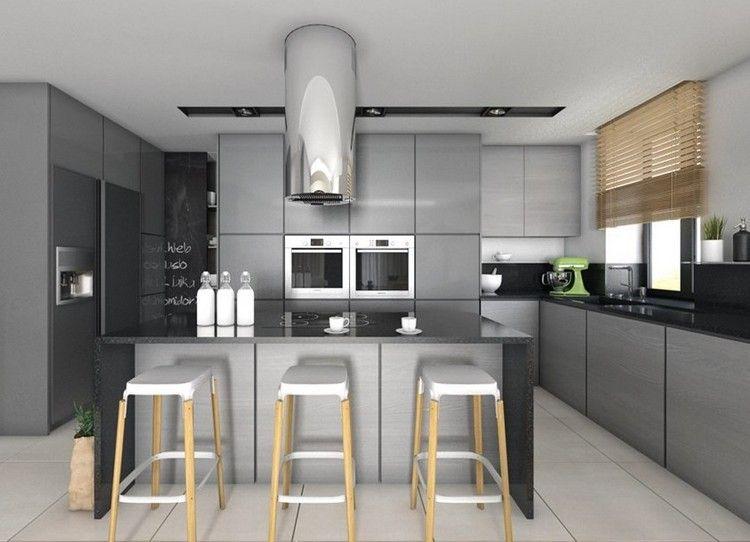 wohnküche in grau und schwarz mit barhockern