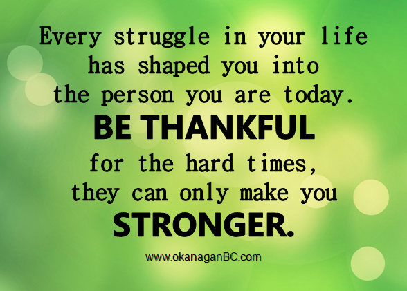Every Struggle In Your Life Has Shaped You Into The Person You Are Today Be Thankful For The Hard Times They Time Quotes Quotable Quotes Inspirational Quotes