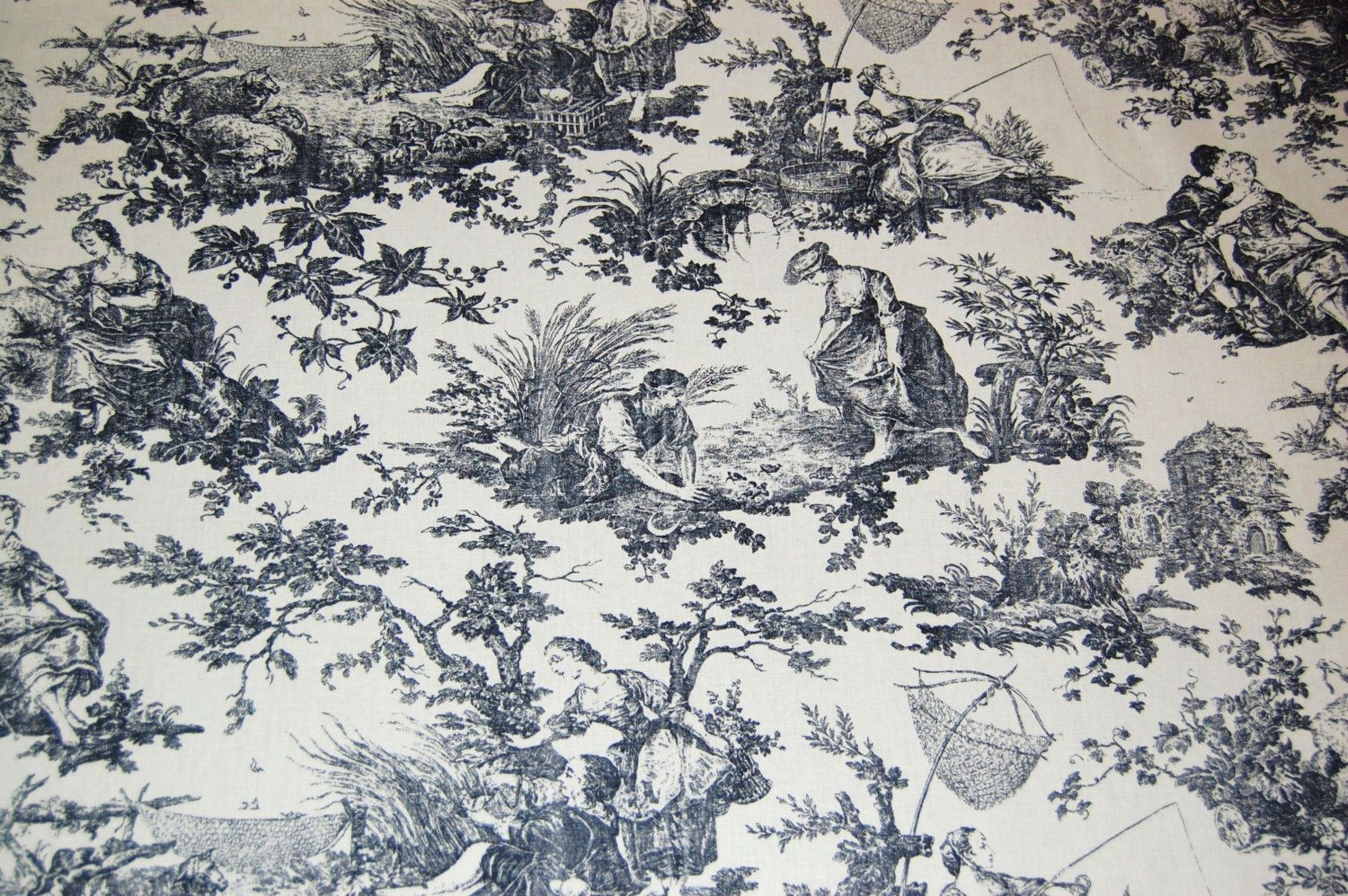 Laura Ashley Black And Antique White Toile Fabric Vintage By The 1 2