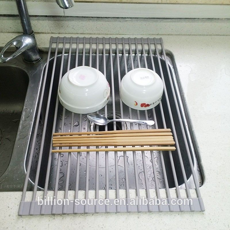 New DISH DRAINER Rack Over Sink Roll Up Mat Kitchen Tray Heat Drying  Strainer