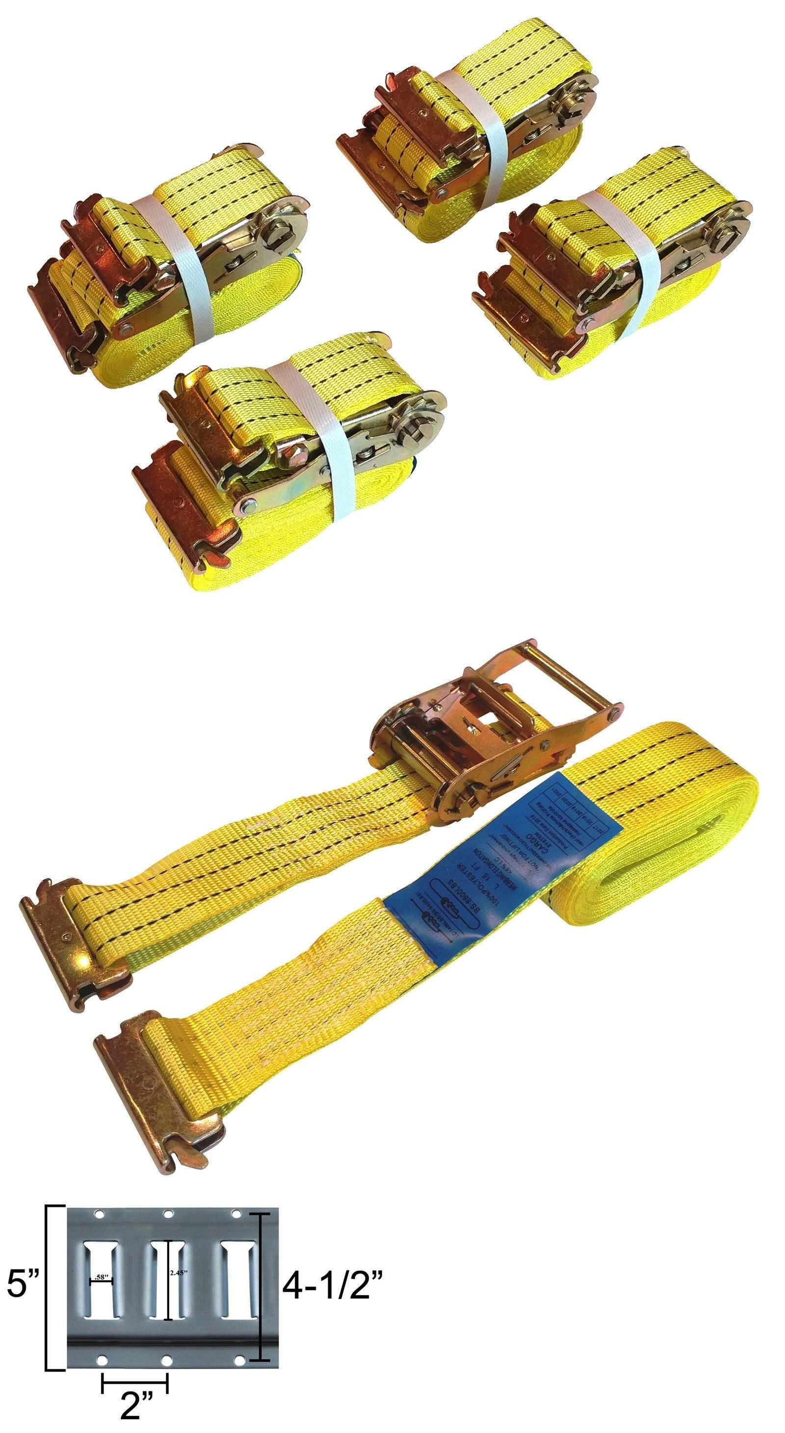 Tie Downs and Straps 85917: 4 Pc 15 E Track Ratchet Tie Down