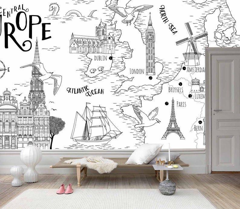 3d Minimalist World Map Wallpaper Removable Self Adhesive Etsy Map Wall Mural World Map Wallpaper Map Wallpaper