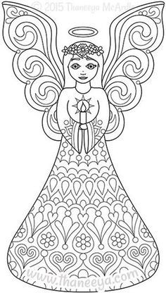 Color Christmas Coloring Book Angel by Thaneeya | For the love of ...