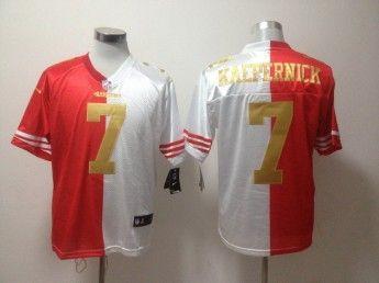 76e1b8110 2013 Nike San Francisco 49ers 7 Colin Kaepernick Red White Split Gold  Number Elite Jersey