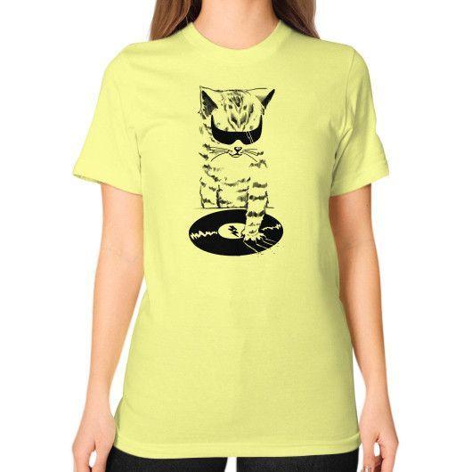DJ CAT Scratch Unisex T-Shirt (on woman)