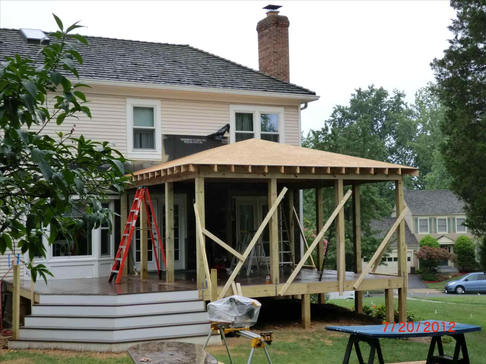 With Roof Framing Building A Shed Over Deck Patio