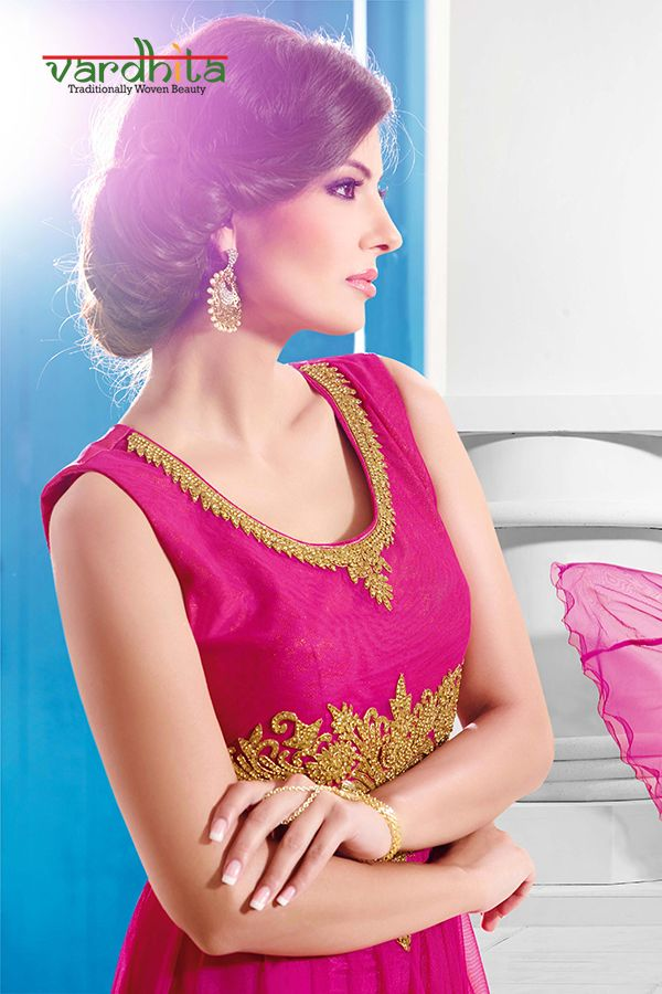 Dark pink color net fabric gown with detailed handwork - Ready to wear - Stitched size 40 inches.  http://www.vardhita.co.uk/product/dark-pink-color-net-fabric-gown-49-1114/