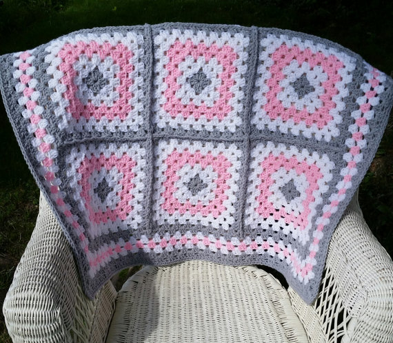 Pink and Grey Granny Square Baby Blanket, Crochet Baby Blanket, Baby ...