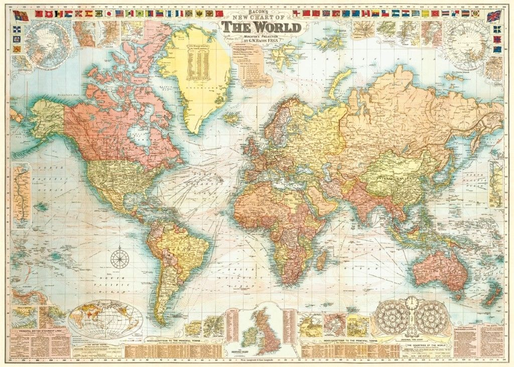 11 99 World Map Bacon S Circa 1907 Historical Replica Home