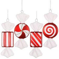 4 Piece Candy Christmas Ornament Set