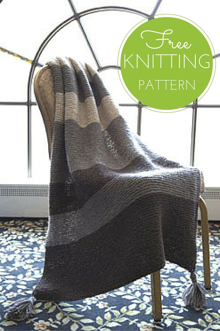 Striped Garter Throw Free Knitting Pattern | Knitted afghans ...