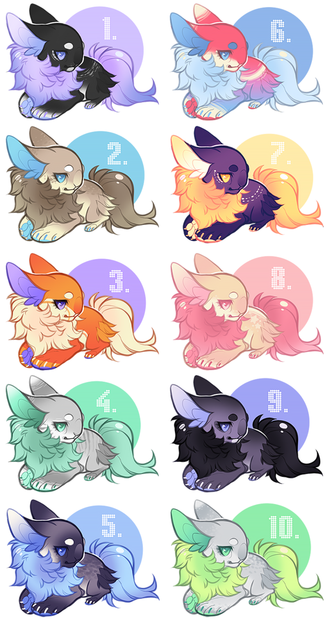 6, 4 and 10 are mine. And their names are Sunsetlemon, Peppermintwind, and then Limefrost.The rest are open