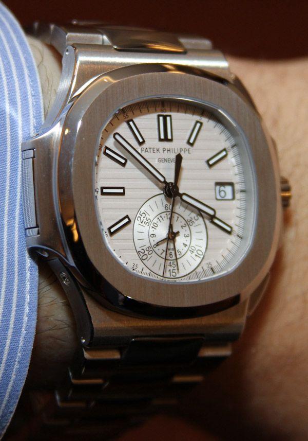 555dbe37b58 Patek Philippe Nautilus Chronograph 5980 1A White Dial Watch Hands ...
